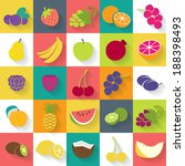 fruits and berries icons set  ... | Shutterstock .eps vector #188398493