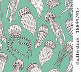 jellyfishes seamless pattern   Shutterstock .eps vector #188447417