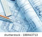 industrial drawing detail and... | Shutterstock . vector #188463713
