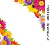 colorful gerbers flowers border | Shutterstock . vector #188515037