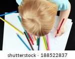 small blond girl is drawing by... | Shutterstock . vector #188522837