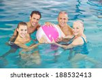 happy group playing in swimming ... | Shutterstock . vector #188532413