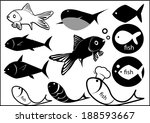 Illustration Of Fish Sea Black...