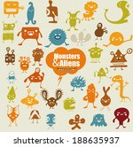 many cute doodle monsters | Shutterstock .eps vector #188635937