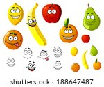 lemon  apple  orange  banana ... | Shutterstock .eps vector #188647487
