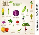food vegetables doodle set of... | Shutterstock .eps vector #188651573