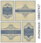set of invitations. striped... | Shutterstock .eps vector #188657417