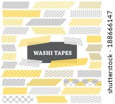 grey  yellow and white washi... | Shutterstock .eps vector #188666147