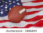 American Football With Flag In...