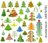set of christmas trees | Shutterstock .eps vector #18870781