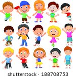 happy kid cartoon collection | Shutterstock .eps vector #188708753