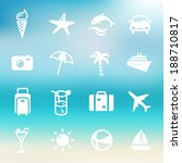 collection of summer icons on a ... | Shutterstock .eps vector #188710817