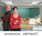 a pair of smiling teachers in a ... | Shutterstock . vector #188756327
