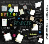 black wall reminder with... | Shutterstock .eps vector #188821817