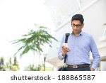 indian business man reading or...   Shutterstock . vector #188865587