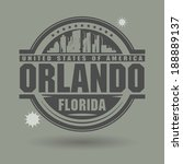 Stamp or label with text Orlando, Florida inside, vector illustration