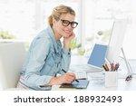 blonde pretty designer looking...   Shutterstock . vector #188932493