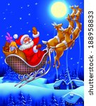 christmas santa claus flying on ...   Shutterstock . vector #188958833