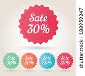 vector sale 30  badge sticker | Shutterstock .eps vector #188959247