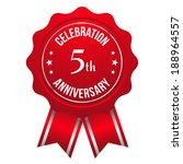 red five year anniversary badge ... | Shutterstock .eps vector #188964557