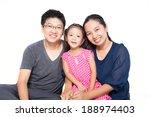 asian family posing on isolate... | Shutterstock . vector #188974403