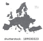 europe high detailed vector map | Shutterstock .eps vector #189030323