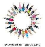 multi ethnic children laying... | Shutterstock . vector #189081347