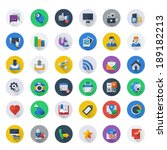 social media icon set, round background, long shadow