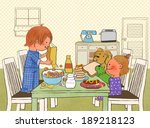 illustration of breakfast table | Shutterstock . vector #189218123