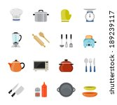 kitchenware full color flat... | Shutterstock .eps vector #189239117