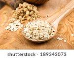 oats on a wooden spoon   Shutterstock . vector #189343073