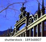 Iron Fence Detail  Dusk Sky