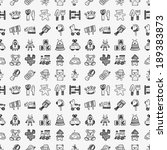 seamless doodle toy pattern | Shutterstock .eps vector #189383873