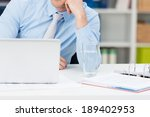 businessman sitting thinking at ... | Shutterstock . vector #189402953