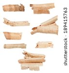 set wood shavings isolated on... | Shutterstock . vector #189415763