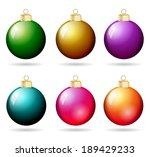 christmas balls metallic set | Shutterstock . vector #189429233