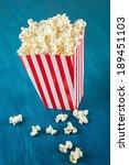 box of popcorn on blue... | Shutterstock . vector #189451103