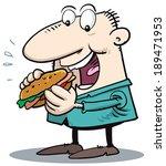 eating hamburger | Shutterstock .eps vector #189471953