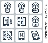 mobile network and qr code... | Shutterstock .eps vector #189490013