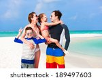 happy beautiful family on a... | Shutterstock . vector #189497603