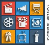 set of 9 cinema vector web and... | Shutterstock .eps vector #189556973