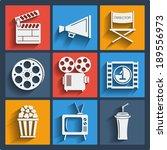 set of 9 cinema vector web and... | Shutterstock .eps vector #189556973