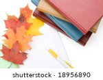 pile of books  writing book ... | Shutterstock . vector #18956890