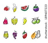 fruit brush line icons set | Shutterstock .eps vector #189607223