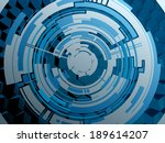 techno circle on honeycomb... | Shutterstock .eps vector #189614207