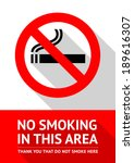 no smoking sticker  flat vector ... | Shutterstock .eps vector #189616307