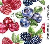 seamless pattern with berry  | Shutterstock . vector #189803687