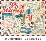 retro post stamp. passport... | Shutterstock .eps vector #189807593
