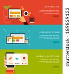 flat design concept icons and... | Shutterstock .eps vector #189839123