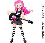 cool rock star girl playing... | Shutterstock .eps vector #189915857